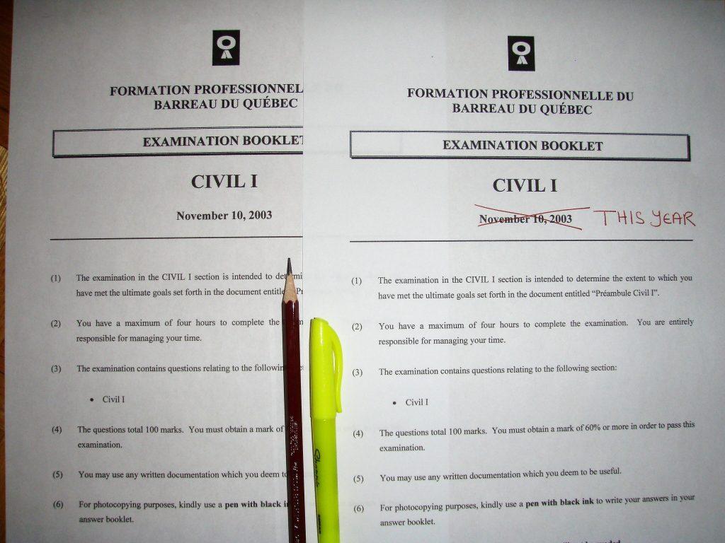 Past Quebec Bar Exams vs  Current Bar Exams – Sharpened